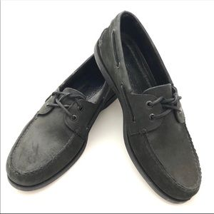 Sperry Top-Sider Black Leather Boat Shoes 11